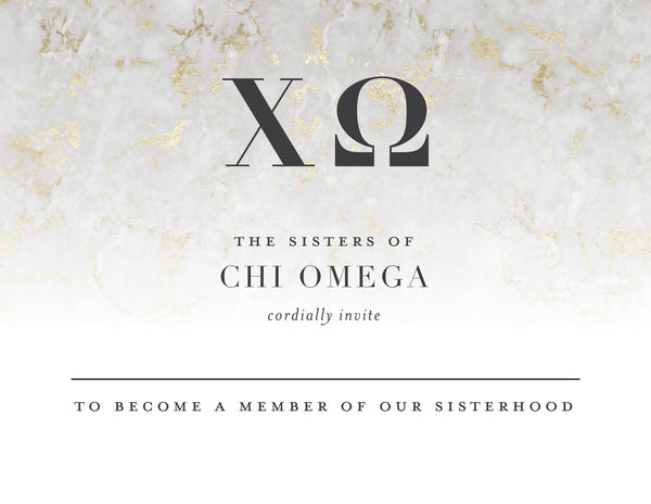 Chi Omega Golden Marble Bid Card