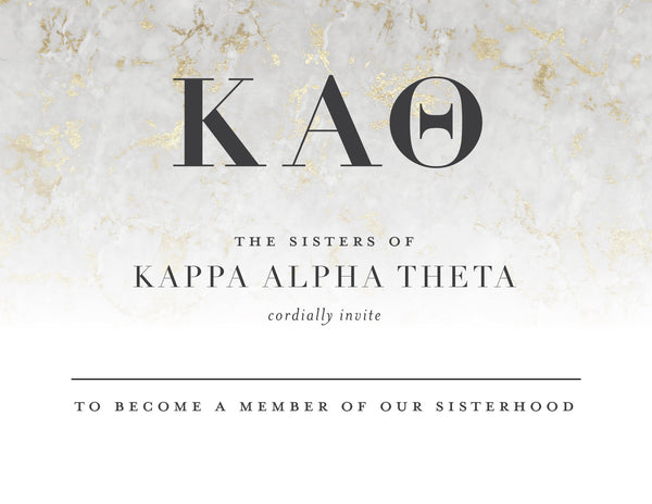Kappa Alpha Theta Golden Marble Bid Card