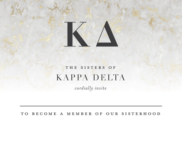 Kappa Delta Golden Marble Bid Card