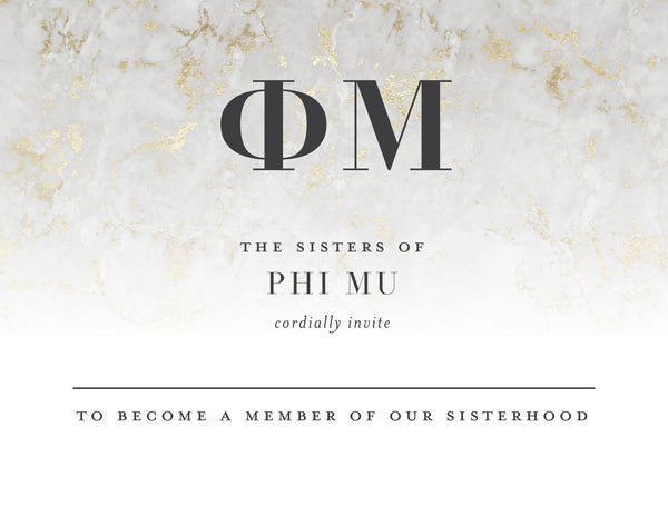Phi Mu Golden Marble Bid Card