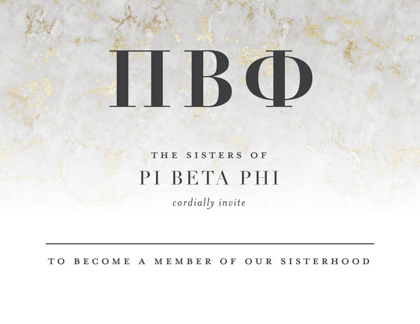 Pi Beta Phi Golden Marble Bid Card