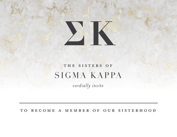 Sigma Kappa Golden Marble Bid Card