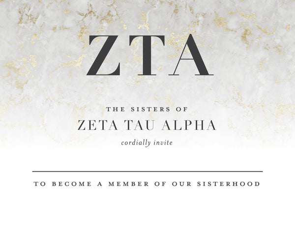 Zeta Tau Alpha Golden Marble Bid Card