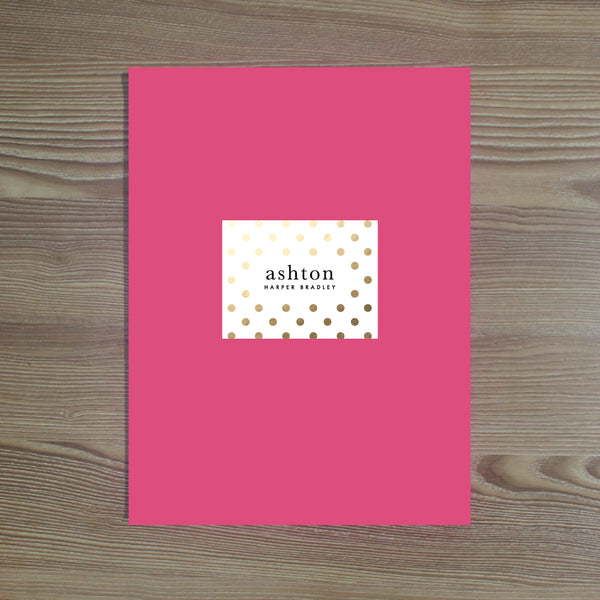 Golden Dots folder sticker shown on Peony pocket folder