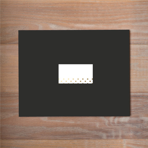 Golden Dots mailing label shown on Black presentation envelope (not included in price but available as an add-on to your purchase)