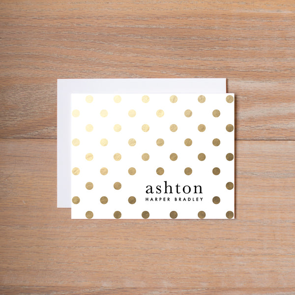 Golden Dots personal note card (if you choose to print with us, you will also receive envelopes with your note cards)