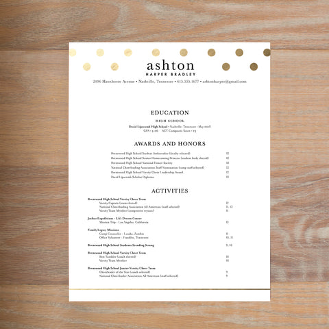 Golden Dots social resume letterhead without formatting