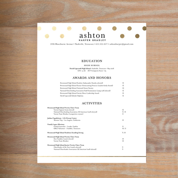 Golden Dots sorority resume shown with full formatting