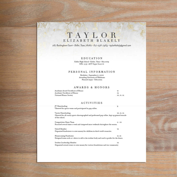 Golden Marble resume shown with full formatting