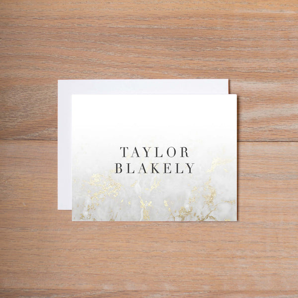 Golden Marble Folded Note Cards