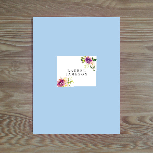 Graceful Bouquet folder sticker shown on Bluebell pocket folder