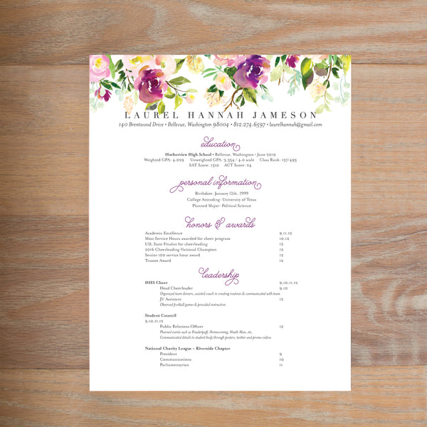 Graceful Bouquet sorority resume shown with full formatting