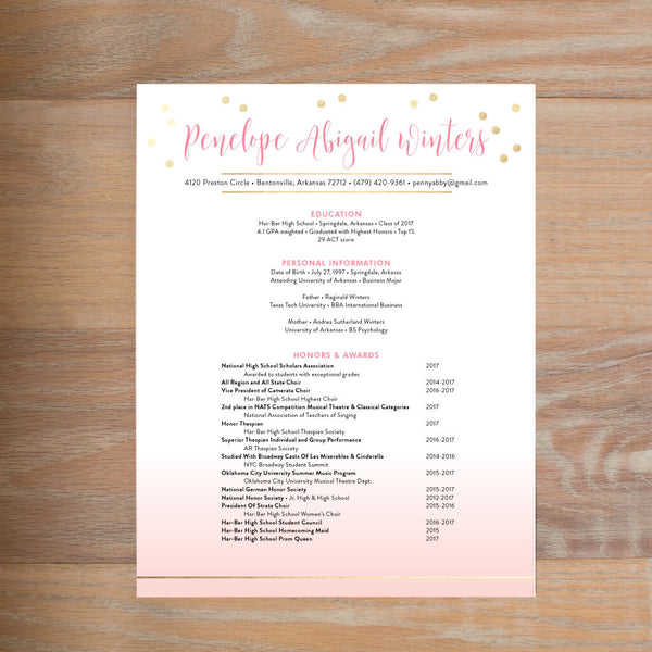 Gradient Confetti Fully Formatted Resume