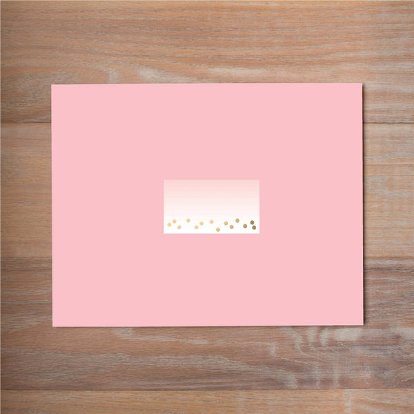 Gradient Confetti mailing label shown on Blossom presentation envelope (not included in price but available as an add-on to your purchase)