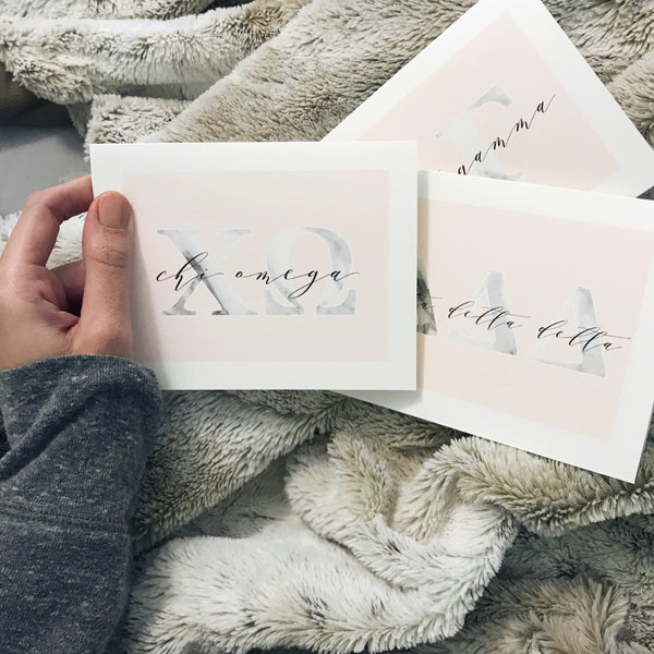 Marble and Blush sorority note cards