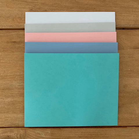 Presentation Envelopes in Tiffany, Bluebell, Blossom, Fog, and White