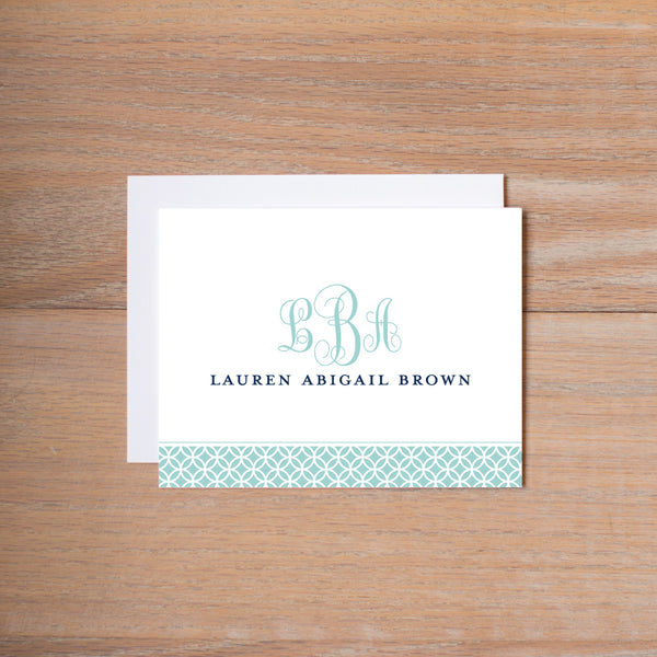 Lattice Monogram personal note card shown in Pool & Night