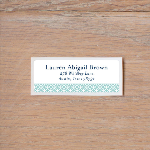 Lattice Monogram return (home) address label shown in Pool & Night