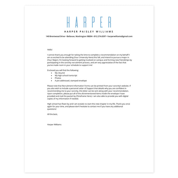 Bluebell Cover letter template