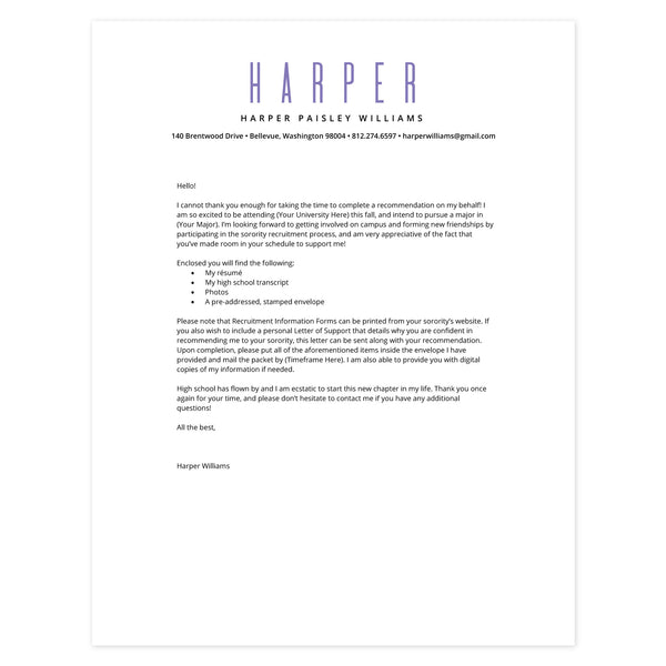 Grape Cover letter template