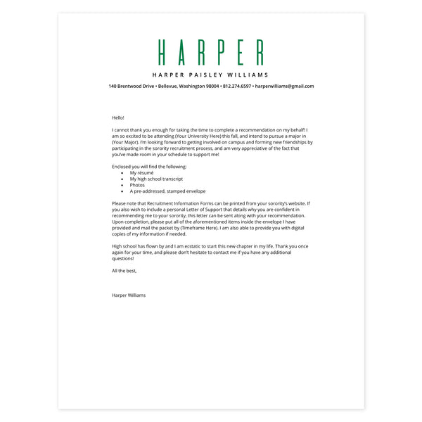 Kelly Green Cover letter template