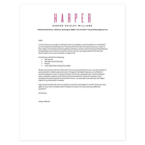 Peony Cover letter template