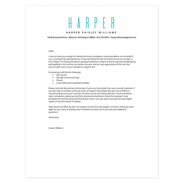 Tiffany Cover letter template