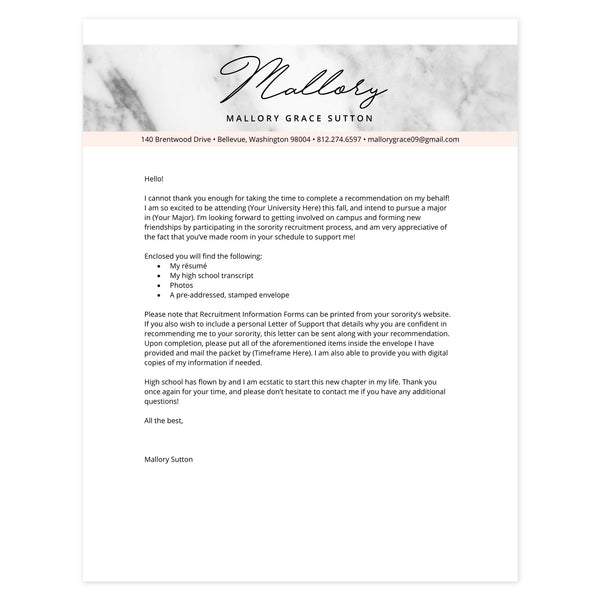 Blush Cover letter template