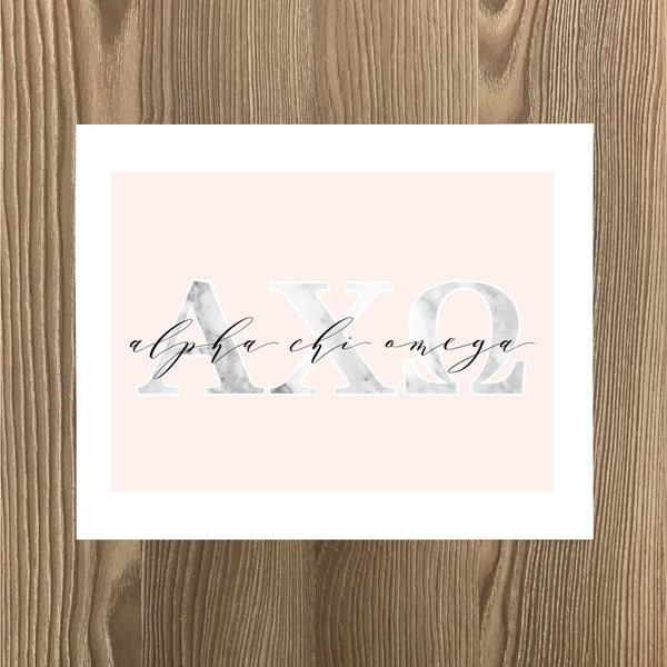 Alpha Chi Omega Marble and Blush Art Print