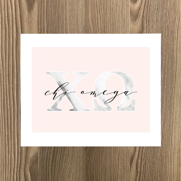 Chi Omega Marble and Blush Art Print