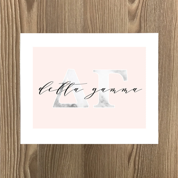 Delta Gamma Marble and Blush Art Print