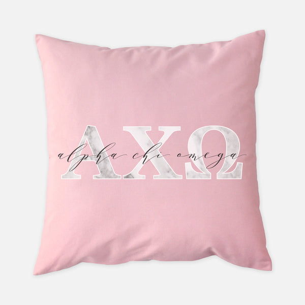 Alpha Chi Omega Marble & Blush Sorority Pillow