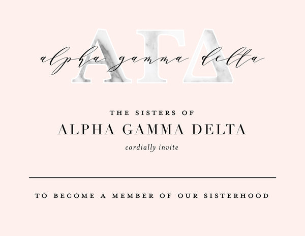 Alpha Gamma Delta Marble & Blush Bid Card