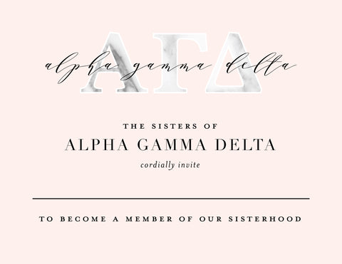 Alpha Chi Omega Marble & Blush Bid Card