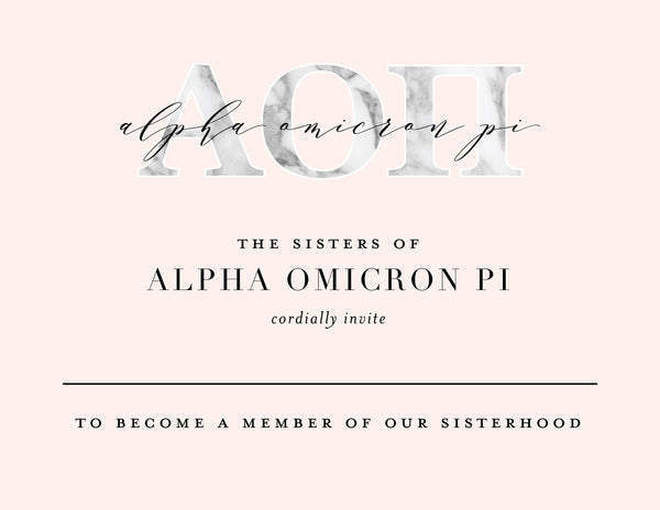 Alpha Omicron Pi Marble & Blush Bid Card
