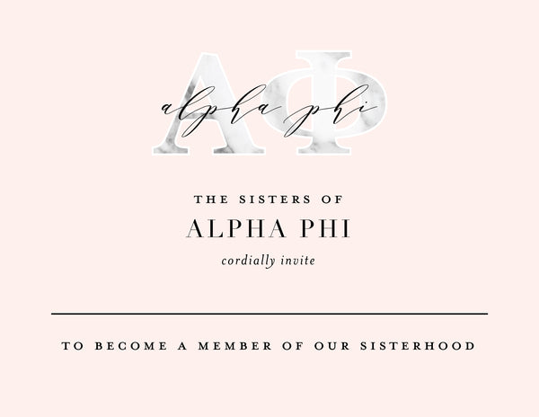 Alpha Phi Marble & Blush Bid Card