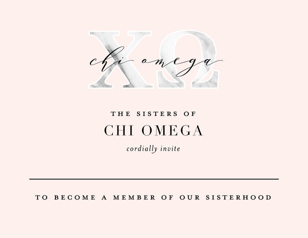 Chi Omega Marble & Blush Bid Card