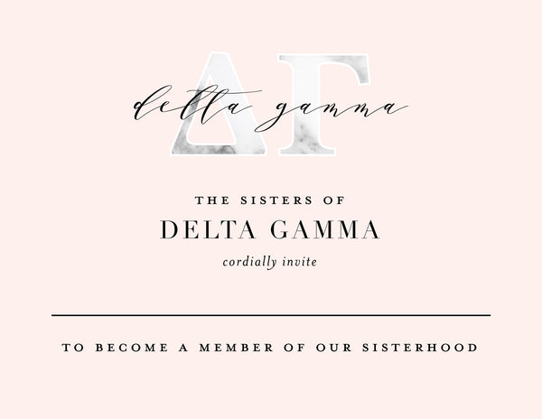 Delta Gamma Marble & Blush Bid Card