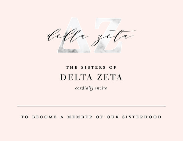 Delta Zeta Marble & Blush Bid Card