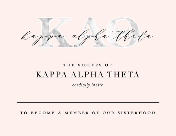 Kappa Alpha Theta Marble & Blush Bid Card