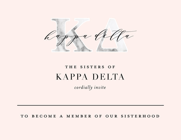 Kappa Delta Marble & Blush Bid Card