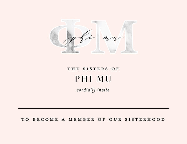 Phi Mu Marble & Blush Bid Card