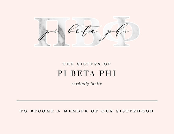 Pi Beta Phi Marble & Blush Bid Card