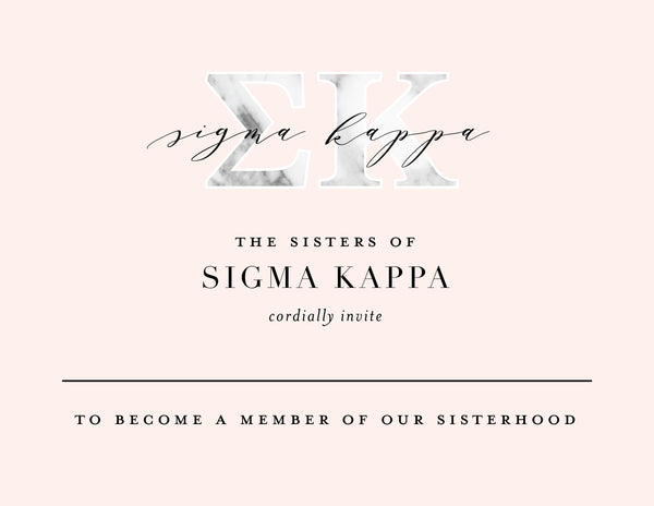 Sigma Kappa Marble & Blush Bid Card