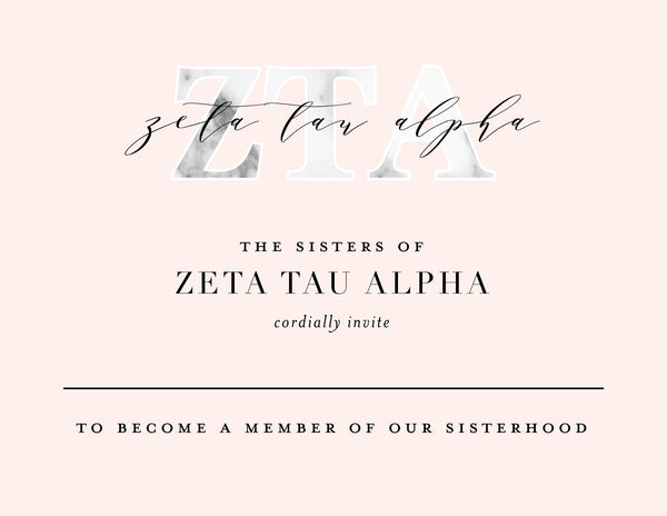 Zeta Tau Alpha Marble & Blush Bid Card