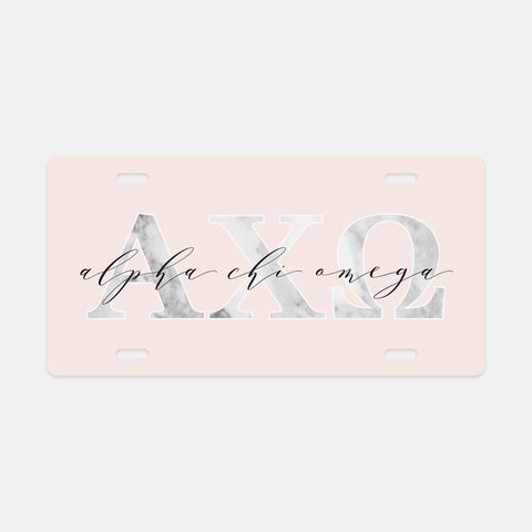 Alpha Chi Omega Marble & Blush License Plate