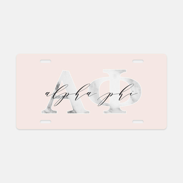 Alpha Phi Marble & Blush License Plate