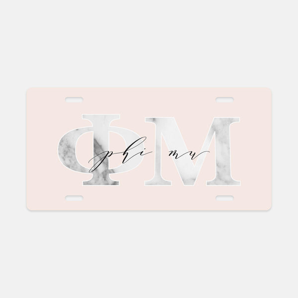 Phi Mu Marble & Blush License Plate
