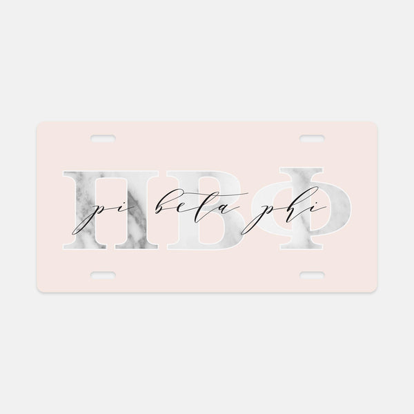 Pi Beta Phi Marble & Blush License Plate
