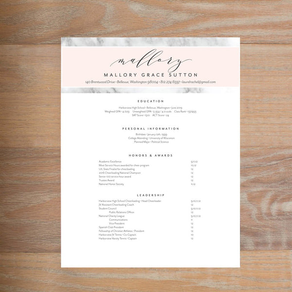 Marble Blush social resume letterhead with full formatting shown in Black